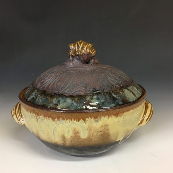 Red Gold Lidded Casserole